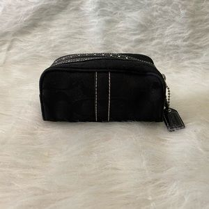 Black Coach Small Signature Makeup Travel Pouch